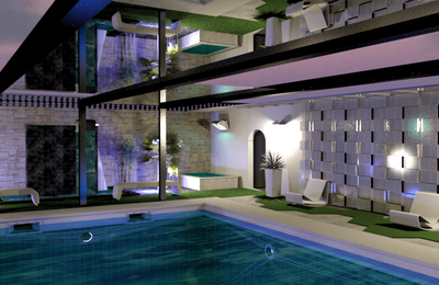Exterior design with swimming pool