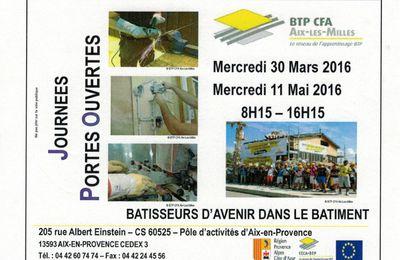 Portes ouvertes au CFA du BTP Aix-Les Milles les 30/03 et 11/05/2016