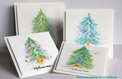 Cartes_Série de petits sapins aquarellés_Watercolors Cards