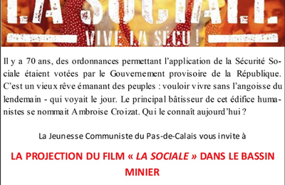 "Jeunesse Communiste du Pas de Calais: Projection du film ""La Sociale"""