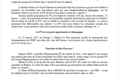 Tract commun CGT, FSU et SOLIDAIRES,contre l'Extrême-Droite dans le Pas-de-Calais.