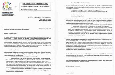Nos demandes adressées au préfet de Région