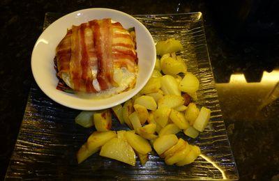 camembert lardé et petites pommes de terre sautés