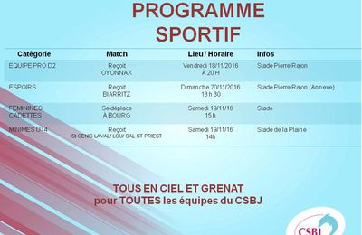 PROGRAMME SPORTIF WEEK-END du 18/11 au 20/11/16