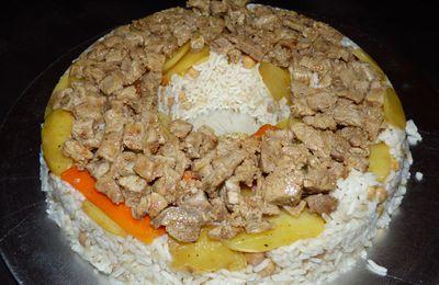 Gateau de riz à la viande et pomme de terre