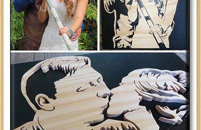 Un tableau en cuir pour fêter ses deux ans de mariage