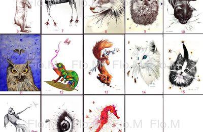 Mes animaux au stylo en carte postale