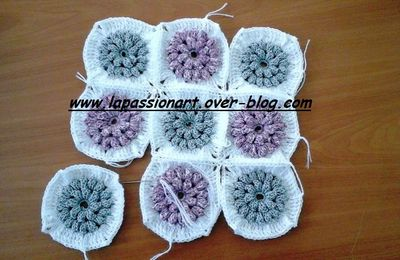 Coussins crochet au point  popcorn :