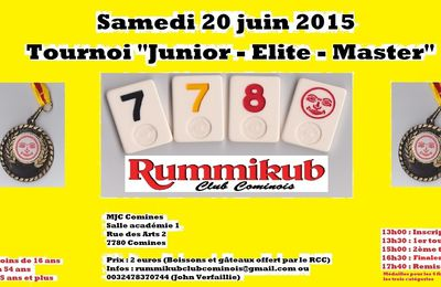 Rummikub : Tournoi Junior-Elite-Master à Comines le 20 juin 2015