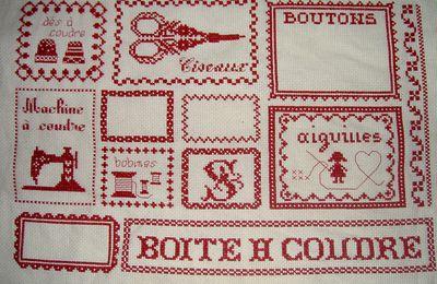 Broderie pour boite à couture