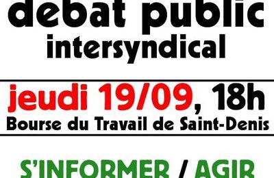 RETRAITES : Débat public intersyndical jeudi 19/09
