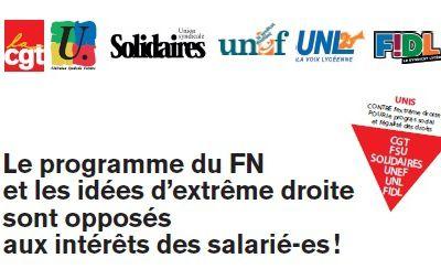 Le programme du FN et les idées d'extrême droite sont opposés aux intérêts des salarié-es !