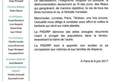 Communiqué de la FNDIRP : attentat de Londre Anita Baudouin, Secrétaire Générale