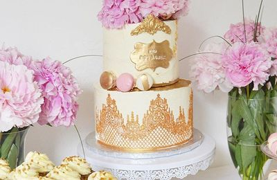Mini Wedding Cake Chic Doré, blanc et rose