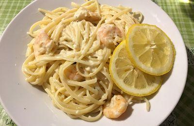 Linguines aux crevettes, sauce à l'ail