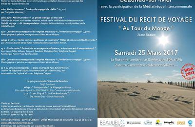 """Festival du récit de voyage""""Au Tour du Monde"""" à Beaulieu-sur-Mer(06-Nice) ce samedi 25 mars 2017"""