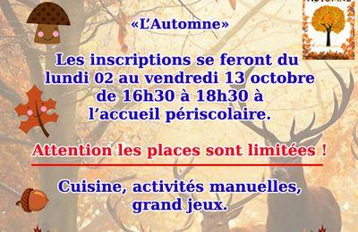 Inscriptions vacances de Toussaint