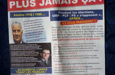 L'ignominieux tract du FN à Rueil-Malmaison