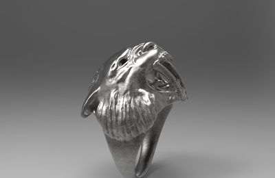 3D ring sabertooth -  Bague Tigre à dents de sabre - zbrush