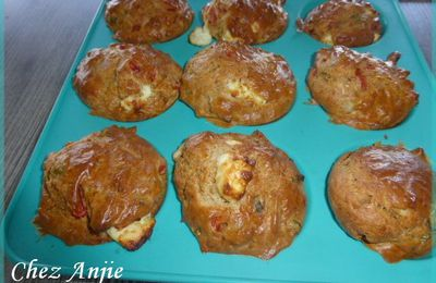 Muffins salés : Poivrons, féta