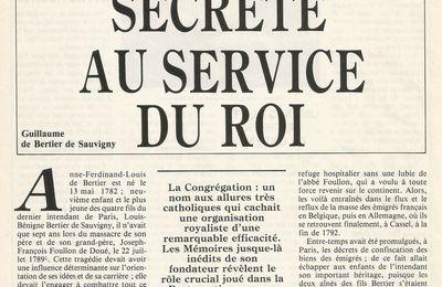 GUILLAUME DE BERTIER DE SAUVIGNY : 1814 UNE SOCIÉTÉ SECRÈTE AU SERVICE DU ROI