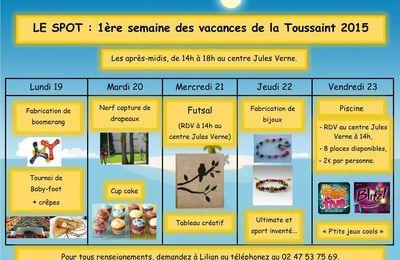 Planning de la 1 re semaine des vacances de la toussaint - Vacance de toussaint 2015 ...