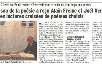 Alain Freixe et Joël Vernet pour des lectures croisées de poèmes - Article du Dauphiné Libéré du 14 mars 2016