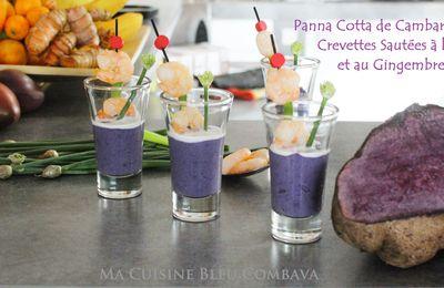 Panna Cotta Salée de Cambarre mauve et Crevettes Sautées à l'Ail et au Gingembre #semaine créole #somèn kréol