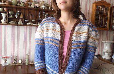 ma nouvelle veste multicolore au crochet; défi de Dane