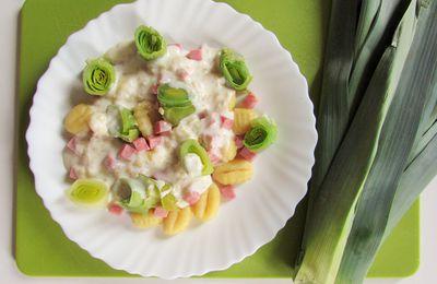 Gnocchis aux poireaux & jambon