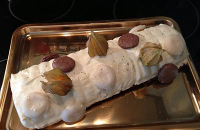 Buche fruits de la passion mangue chocolat blanc