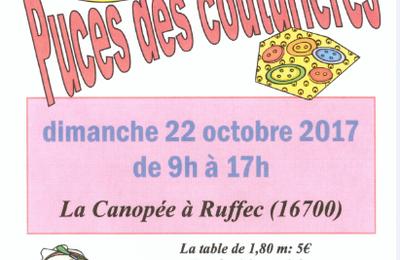 Puces des Couturières à Ruffec (16) : dimanche 22 octobre 2017