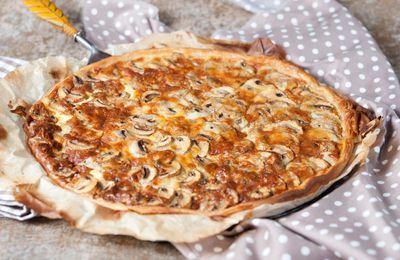 Tarte champignons et roquefort