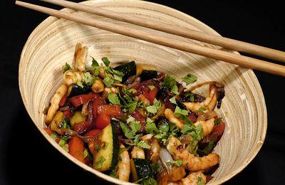 Crevettes teryaki et légumes sautés