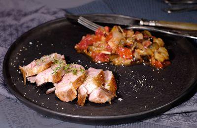 Filet mignon de porc à la plancha, sauce vierge au thym