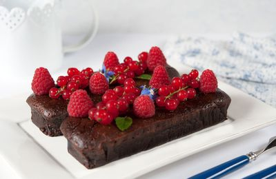 Chocolat et fruits rouges, gâteau au bain-marie
