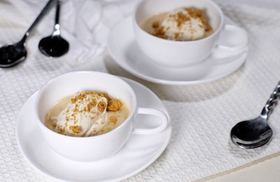 Crème aux spéculoos, chantilly au café