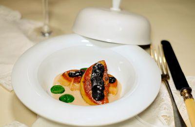 Foie gras poêlé aux truffes, émulsion de châtaignes - Recette réalisée avec le foie gras Rougié
