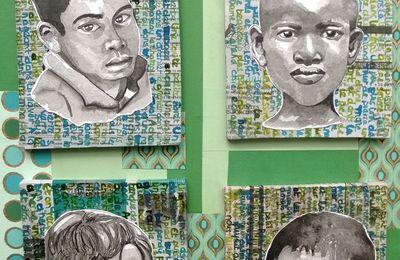 Quatre portraits verts.