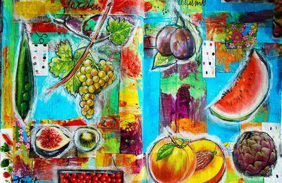 """Art journal  de Francoise Melzani  """"Regard sur les faits et légumes"""""""