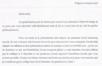 L'écrivain Philippe BARBEAU répond aux courriers des 6èmes