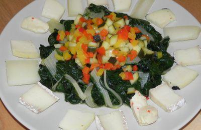 Tartare de légumes à la mangue sur son nid de blettes