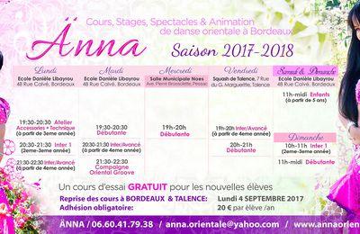 Cours de danse orientale avec Änna à Bordeaux  Saison 2017-2018