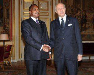France. Le dictateur Sassou Nguesso a reçu le M.A.E Laurent Fabius au Bristol