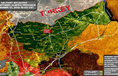 Carte. Situation militaire au nord de la province d'Alep au 1er décembre 2016