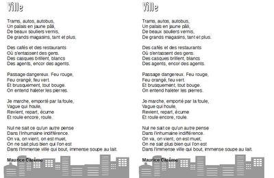 Ville - Maurice Carême - CE2-CM1-CM2