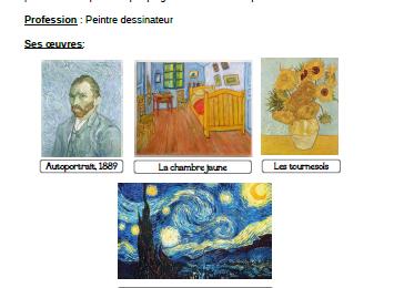 Fiche artiste : Vincent Van Gogh CP-CE1-CE2
