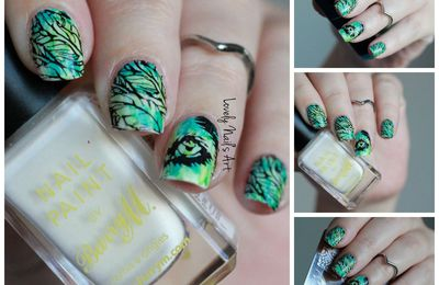 Nail art stamping tropical