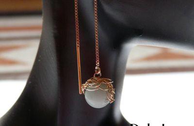 Boucles d'oreilles plaque or et pierre gemme Jade
