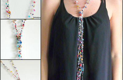 Sautoir multicolore pierres de gemme